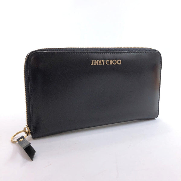 JIMMY CHOO purse Round zip leather Navy Gold Hardware Women Used