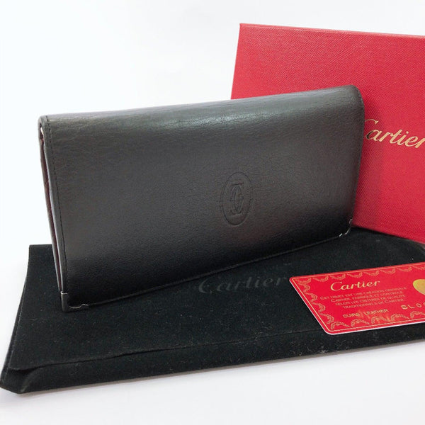 CARTIER purse Must Line leather black unisex Used