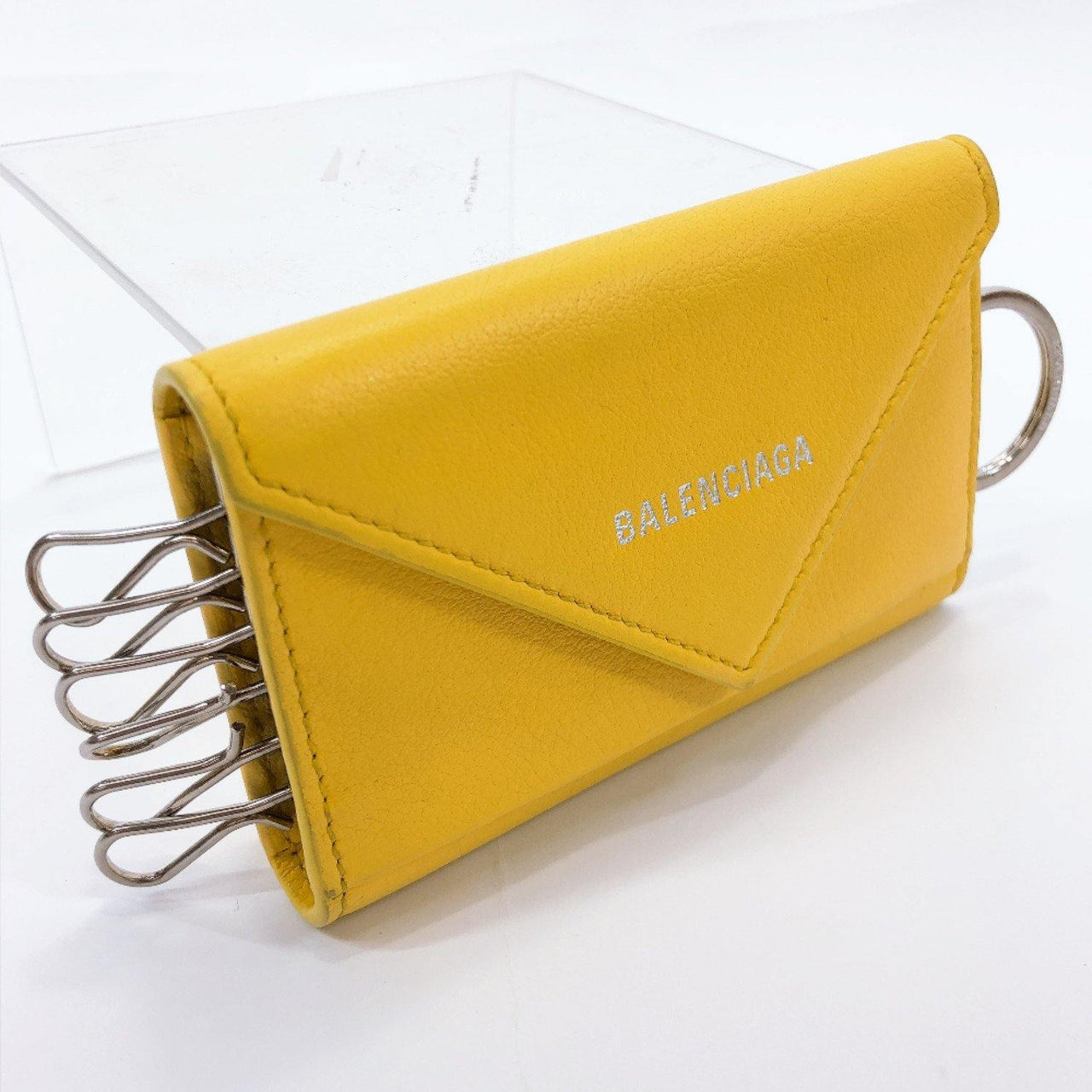 BALENCIAGA key holder 499204 Paper key case six hooks leather yellow unisex Used - JP-BRANDS.com
