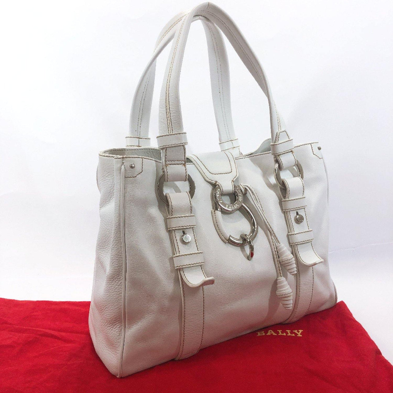 BALLY Handbag GSPJ MIMOSA leather white SilverHardware Women Used - JP-BRANDS.com