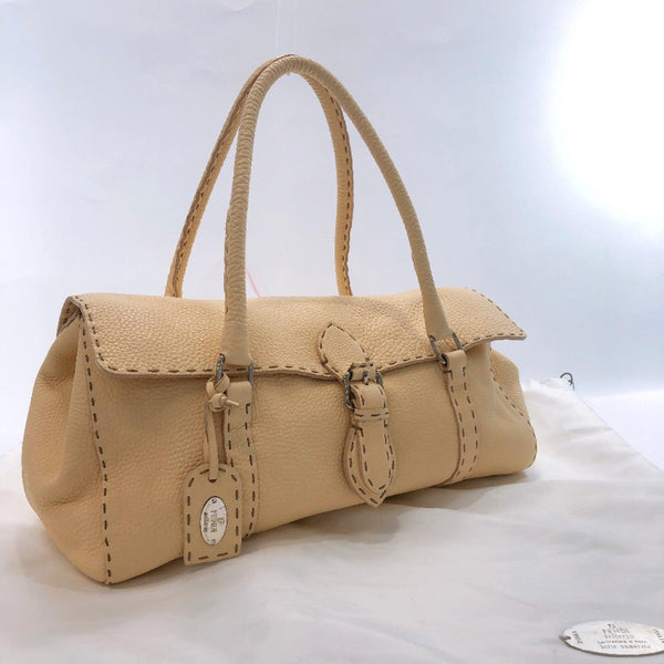 FENDI Handbag 8AV008 Celeria Linda leather beige Women Used