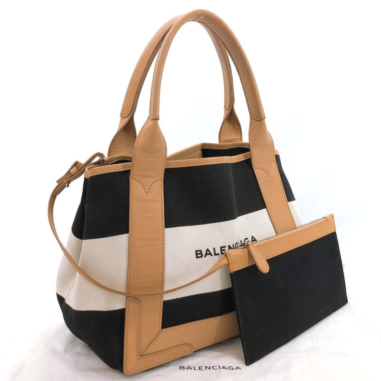 BALENCIAGA Tote Bag 339933 Navy kabas canvas/leather black Women Used - JP-BRANDS.com
