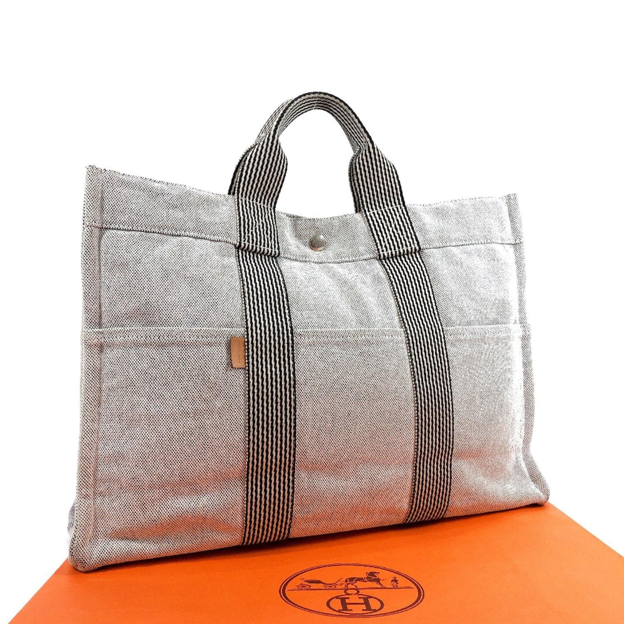 HERMES Tote Bag New fool toe MM canvas gray SilverHardware Women Used