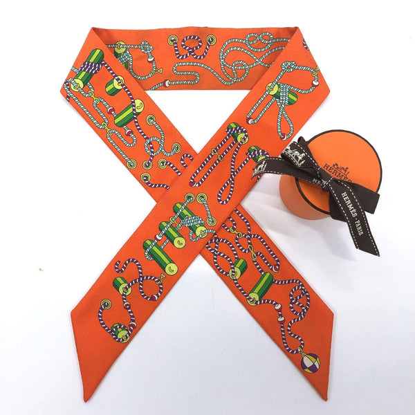 HERMES scarf Twilly silk Orange Women Used