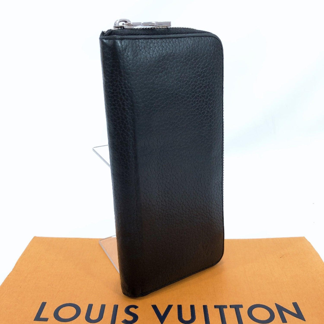 LOUIS VUITTON purse M58412 Zippy Wallet Vertical/Taurillon Clemence Leather black mens Used