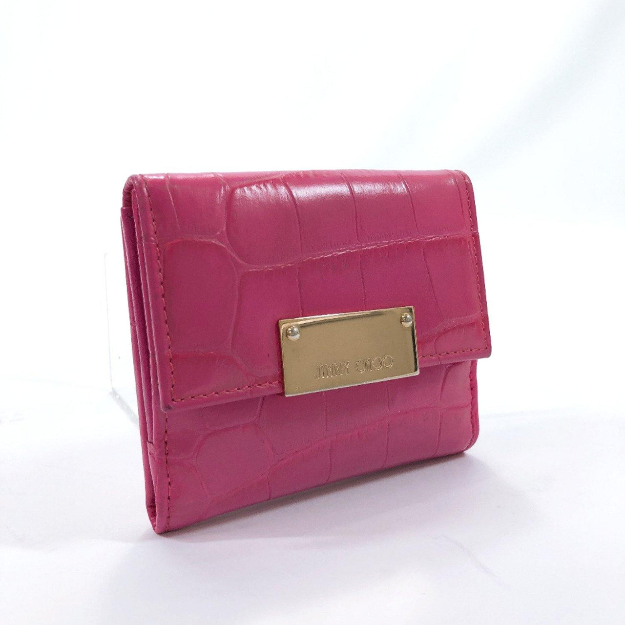 JIMMY CHOO Tri-fold wallet Embossed leather leather pink Gold Hardware Women Used - JP-BRANDS.com