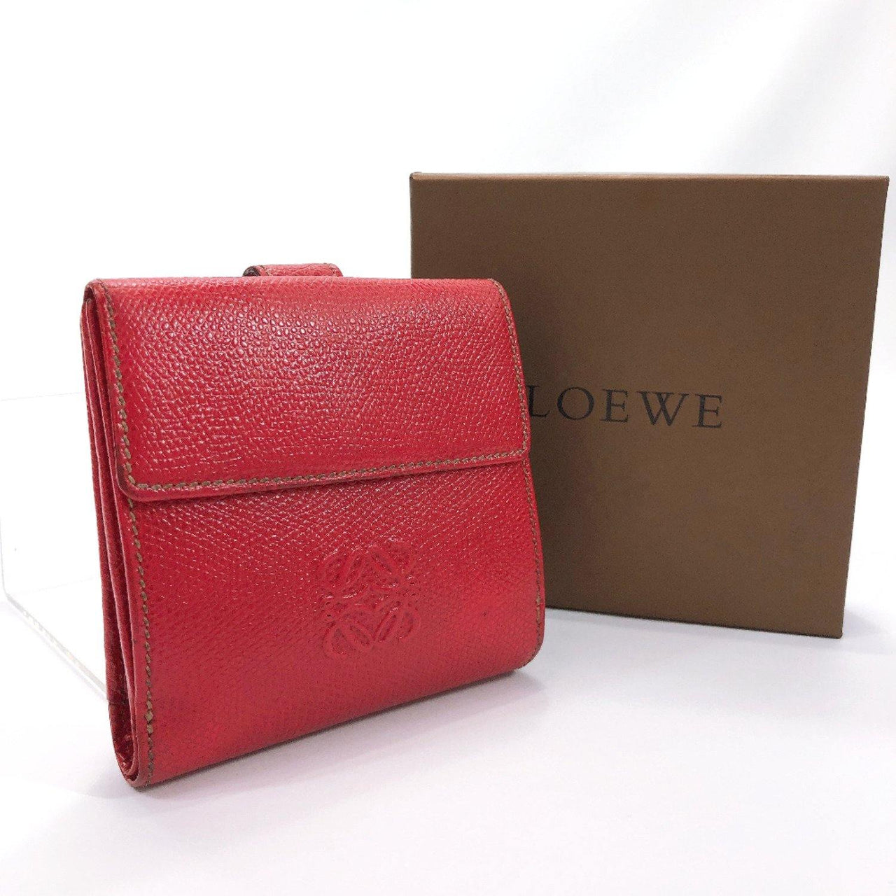 LOEWE wallet anagram leather Red Women Used - JP-BRANDS.com