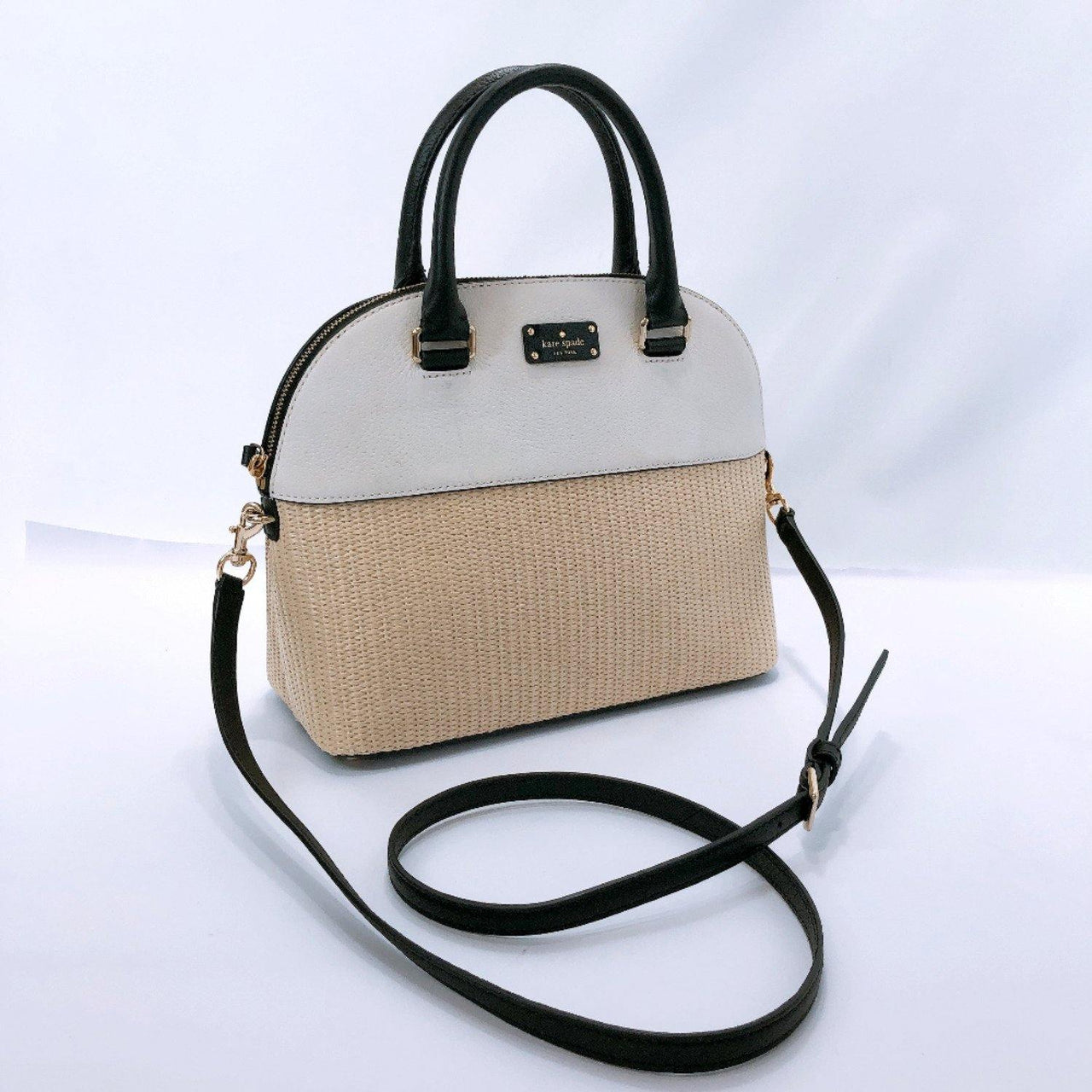 Kate Spade Handbag WKRU5476 Grove street 2way leather/straw white beige Women Used - JP-BRANDS.com