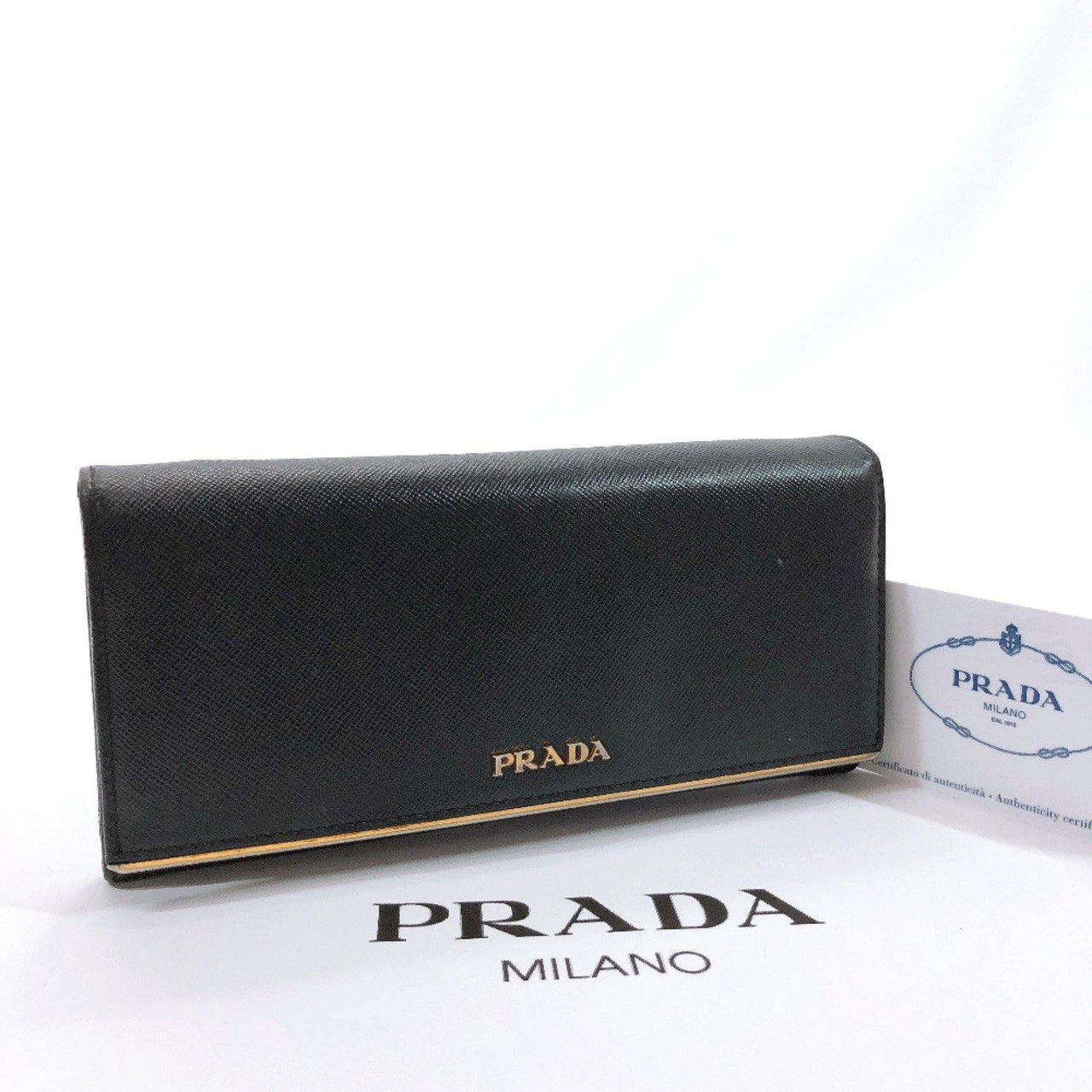 PRADA purse 1M1132 Safiano leather black Gold Hardware Women Used - JP-BRANDS.com