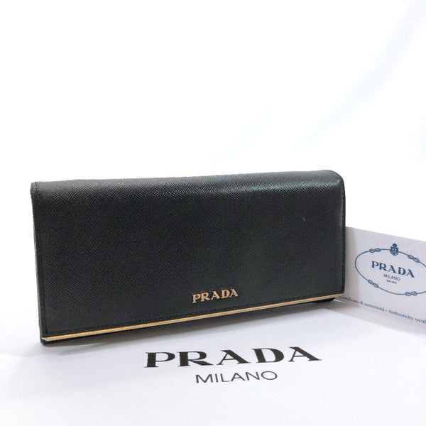 PRADA purse 1M1132 Safiano leather black Gold Hardware Women Used