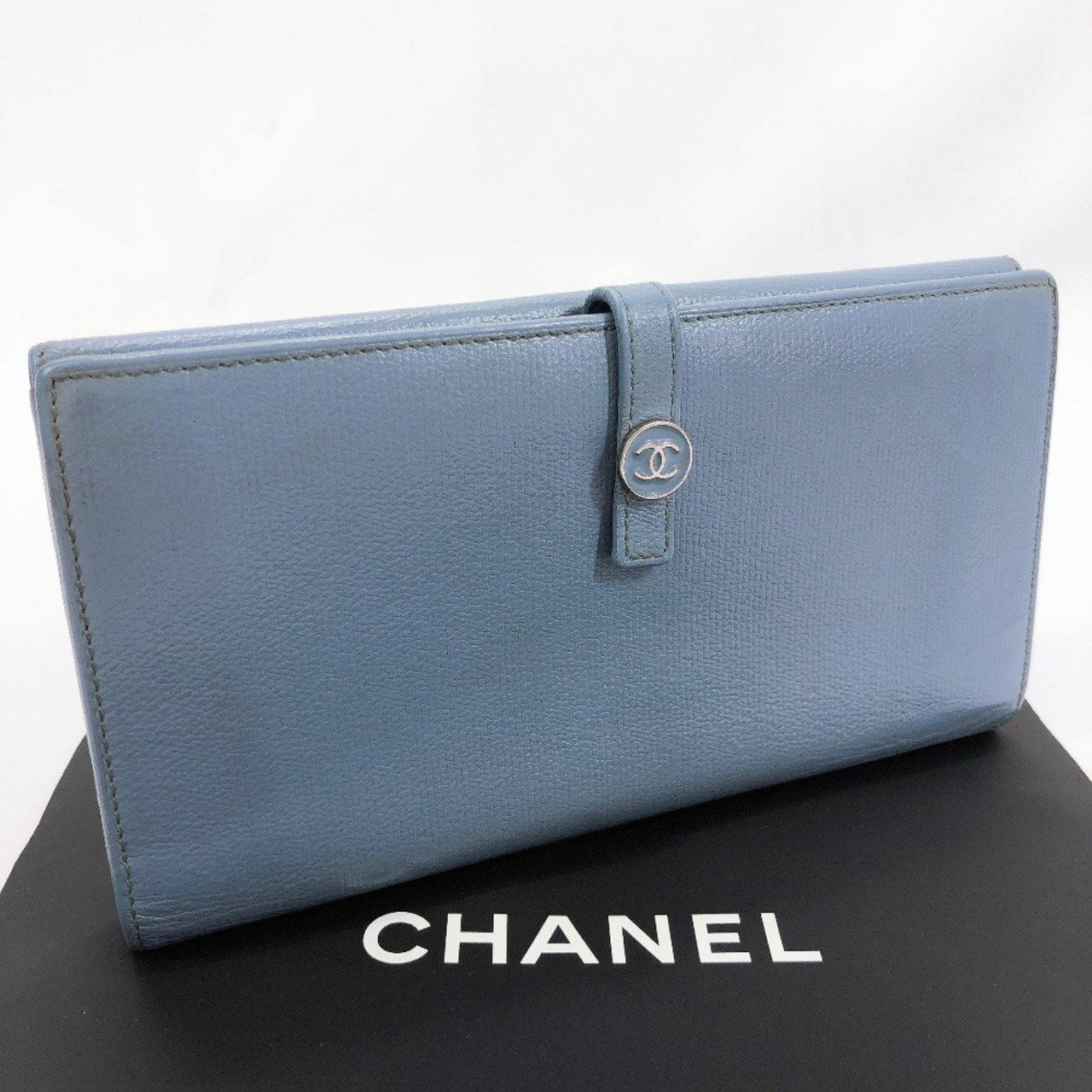 CHANEL purse leather blue Women Used - JP-BRANDS.com