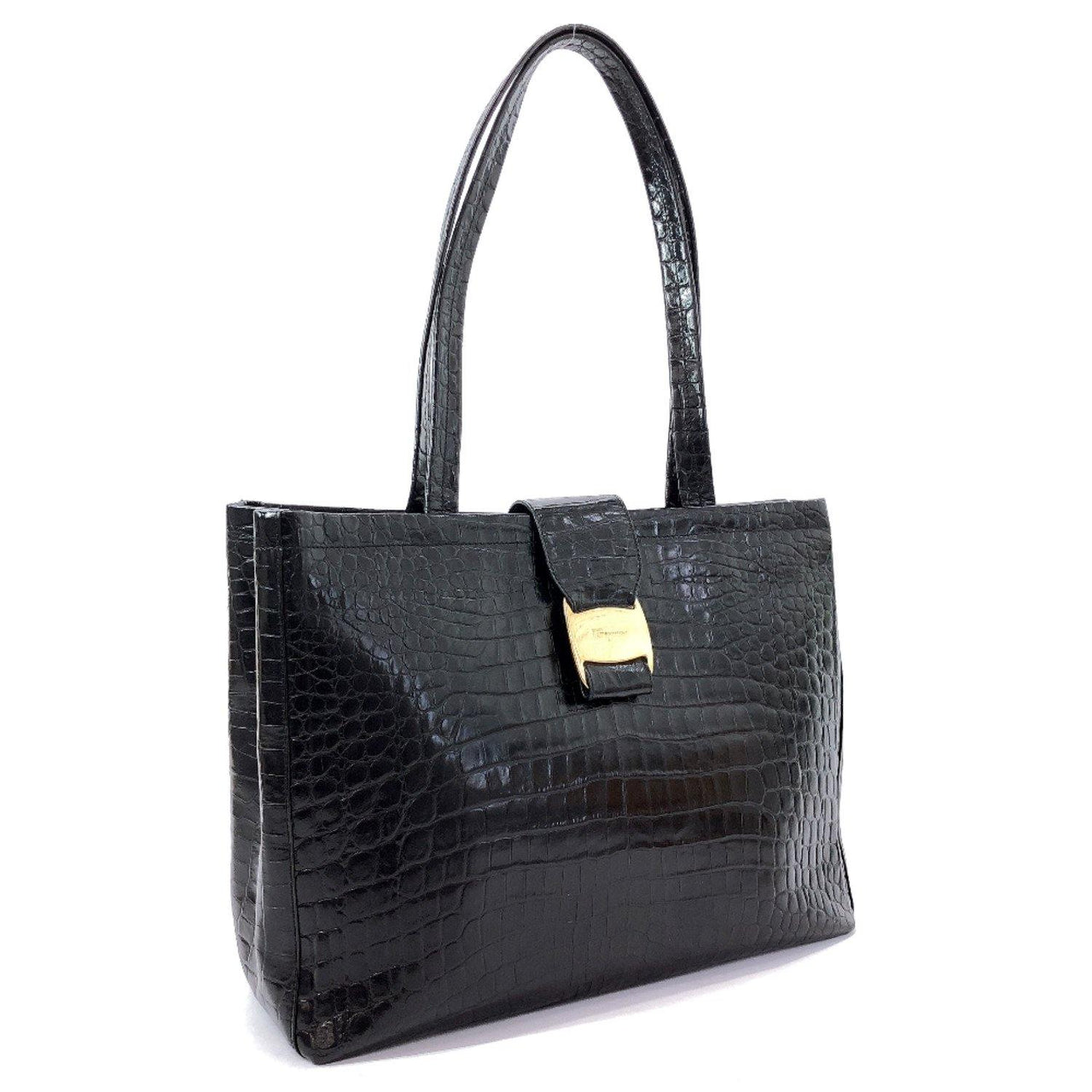 Salvatore Ferragamo Tote Bag BA-21 Vala embossed leather leather black Women Used - JP-BRANDS.com