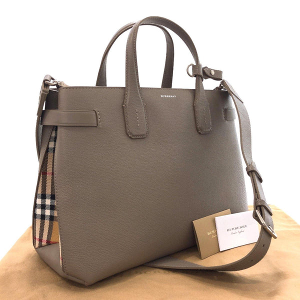 BURBERRY Handbag Vintage check leather gray Women Used