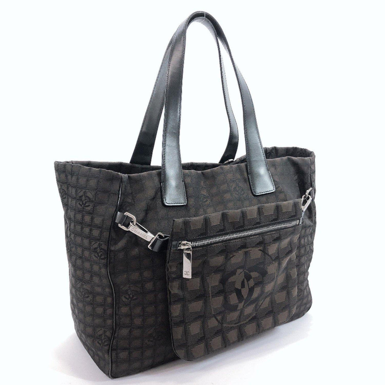 CHANEL Tote Bag New Travel Line MM Nylon Brown Women Used - JP-BRANDS.com