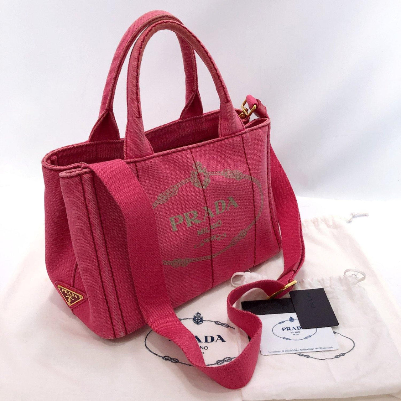 PRADA Tote Bag B2439G Canapa mini canvas pink Women Used - JP-BRANDS.com