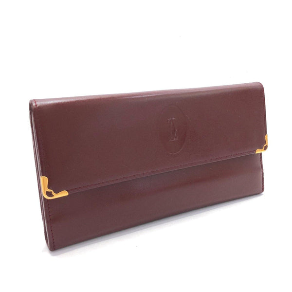 CARTIER purse Must Line Gamaguchi leather wine-red Women Used