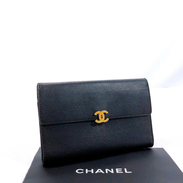 CHANEL purse vintage leather black Women Used