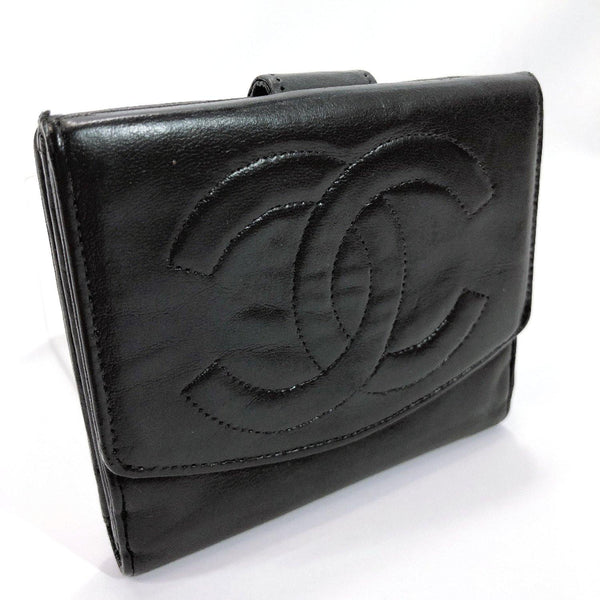 CHANEL Tri-fold wallet COCO Mark vintage leather black Women Used