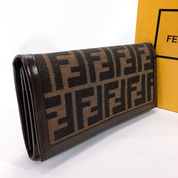 FENDI purse 2309 Zucca canvas/leather Brown Women Used