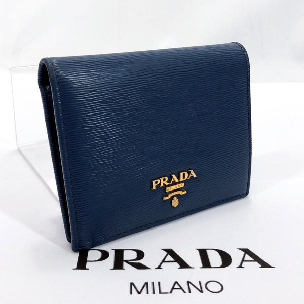 PRADA wallet leather blue Women Used