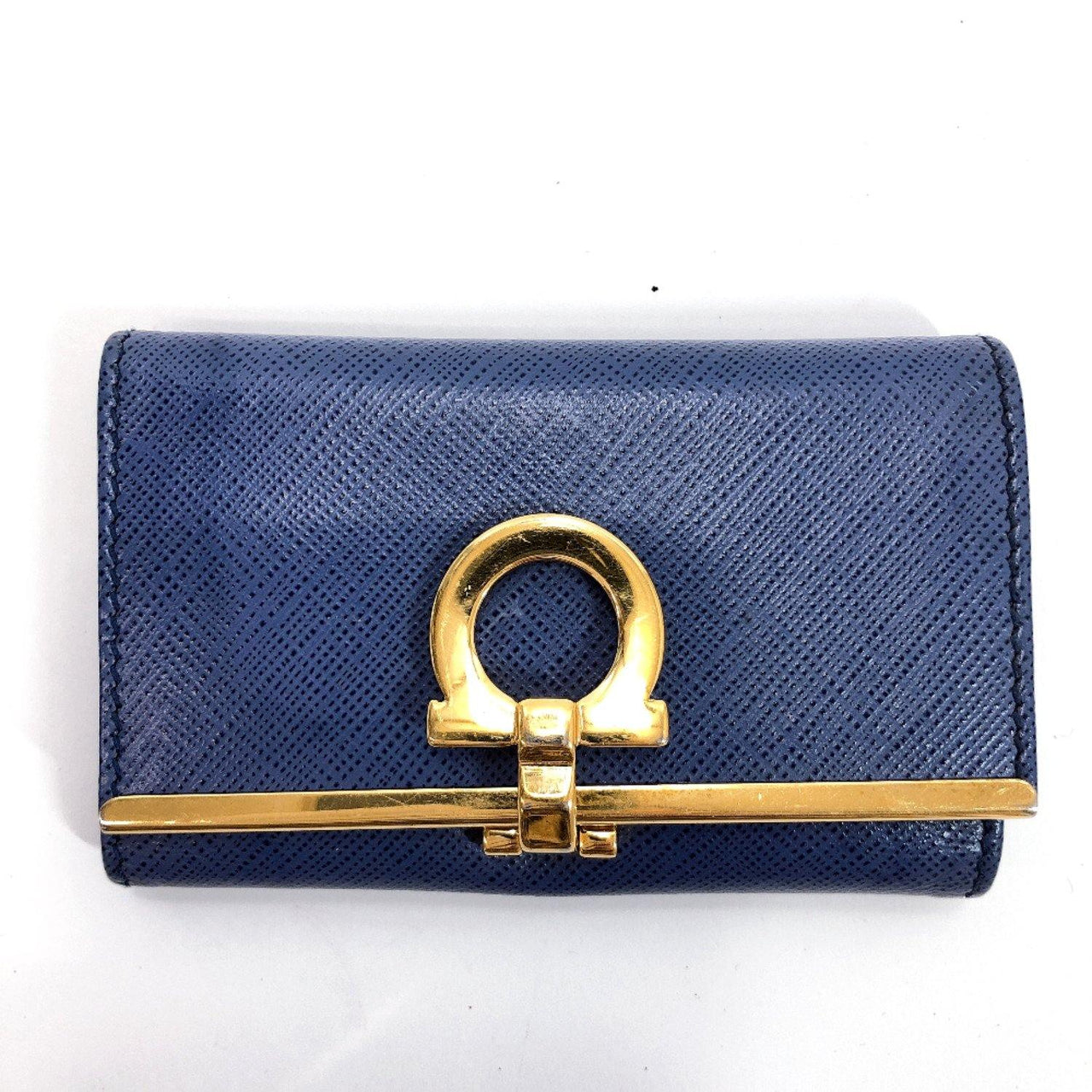 Salvatore Ferragamo key holder Gancini leather blue unisex Used - JP-BRANDS.com