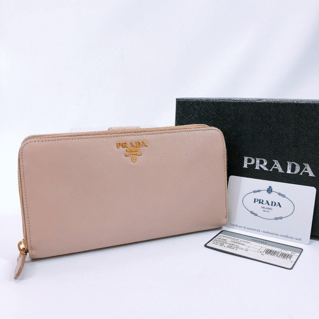 PRADA purse 1M1348 Zip Around Safiano leather beige Women Used