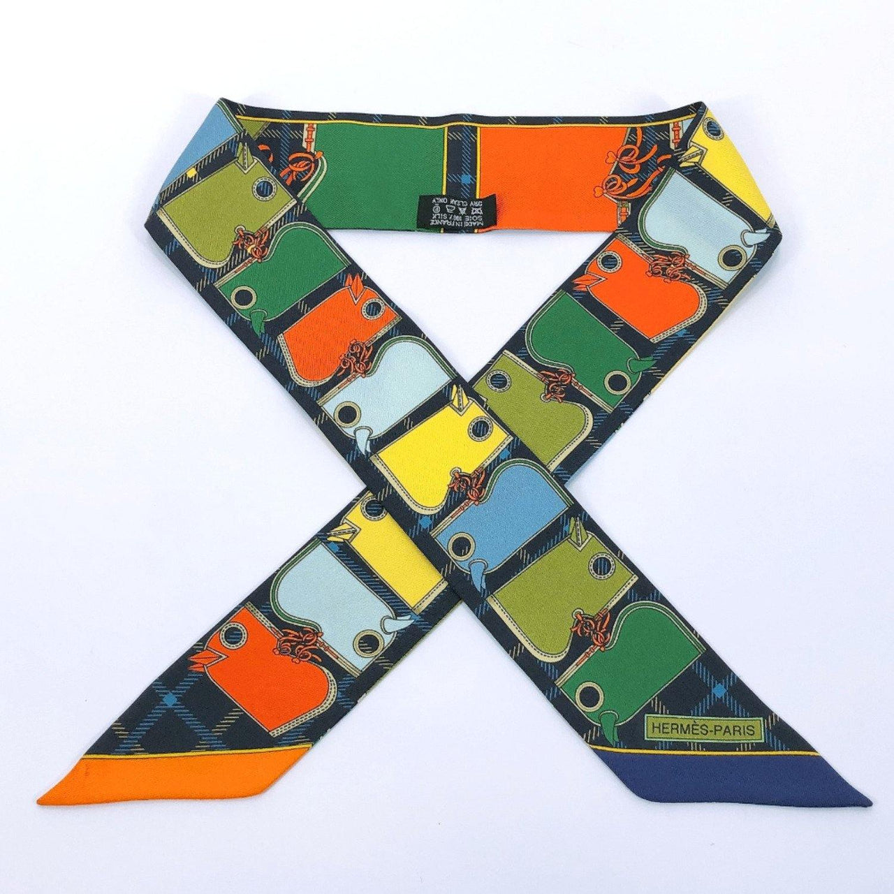 HERMES scarf Twilly Check pattern silk Navy multicolor Women Used - JP-BRANDS.com