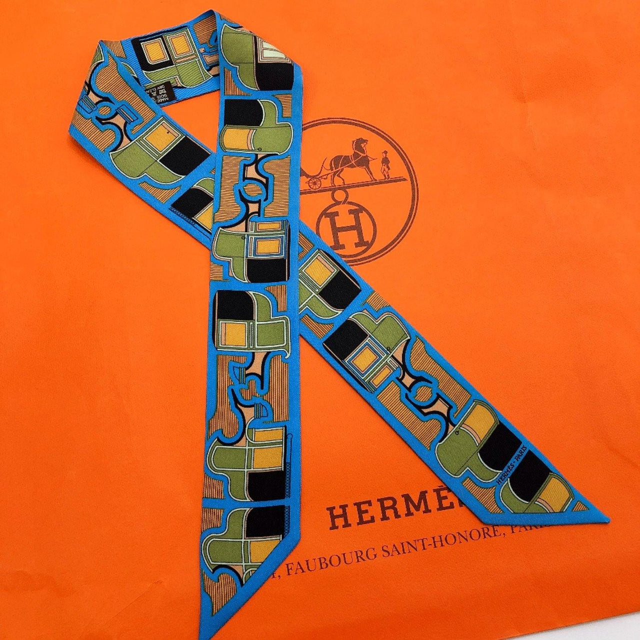 HERMES scarf Twilly silk blue Women Used - JP-BRANDS.com