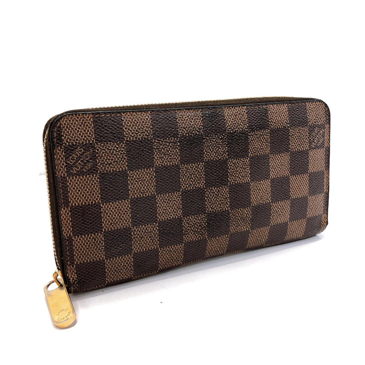 LOUIS VUITTON purse N60015 Zippy wallet Damier canvas Brown mens Used