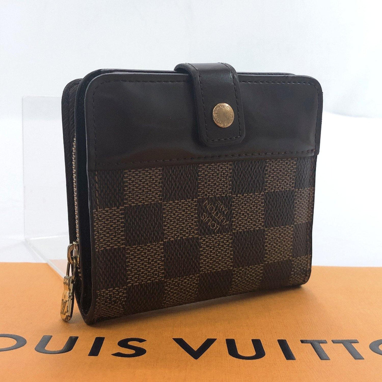 LOUIS VUITTON wallet N61668 Compact zip Damier canvas Brown unisex Used - JP-BRANDS.com