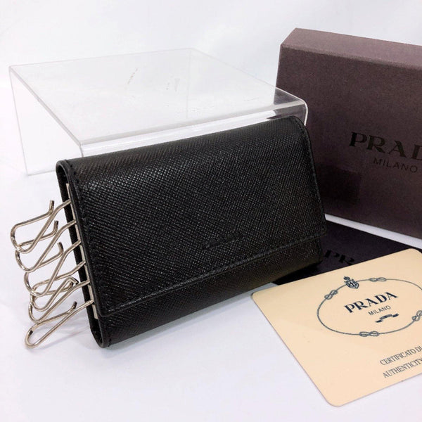 PRADA key holder M25 Safiano leather black unisex Used