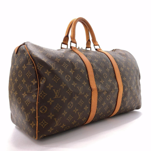 LOUIS VUITTON Boston bag M41426 Keepall50 vintage Monogram canvas/leather Brown unisex Used