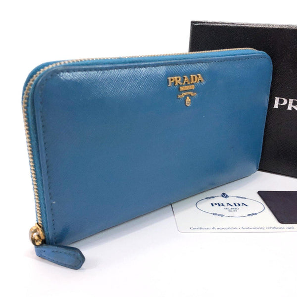 PRADA purse 1M0506 Zip Around Safiano leather Navy gold Women Used