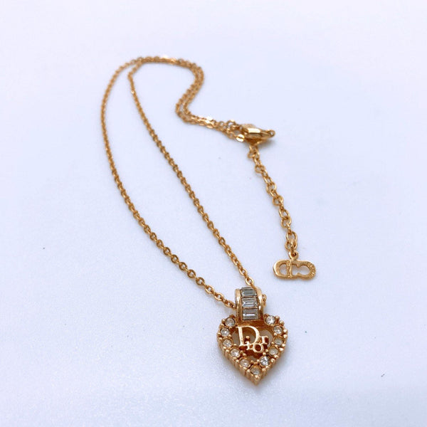 Christian Dior Necklace Rhinestone metal gold Women Used