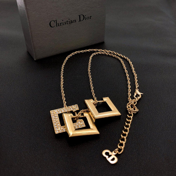 Christian Dior Necklace Square Rhinestone metal gold Women Used