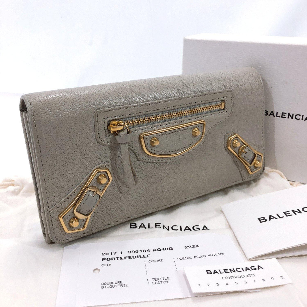 BALENCIAGA purse 390184 AQ40G Classic leather gray gold Women Used - JP-BRANDS.com