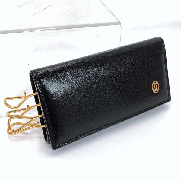 CARTIER key holder leather black unisex Used