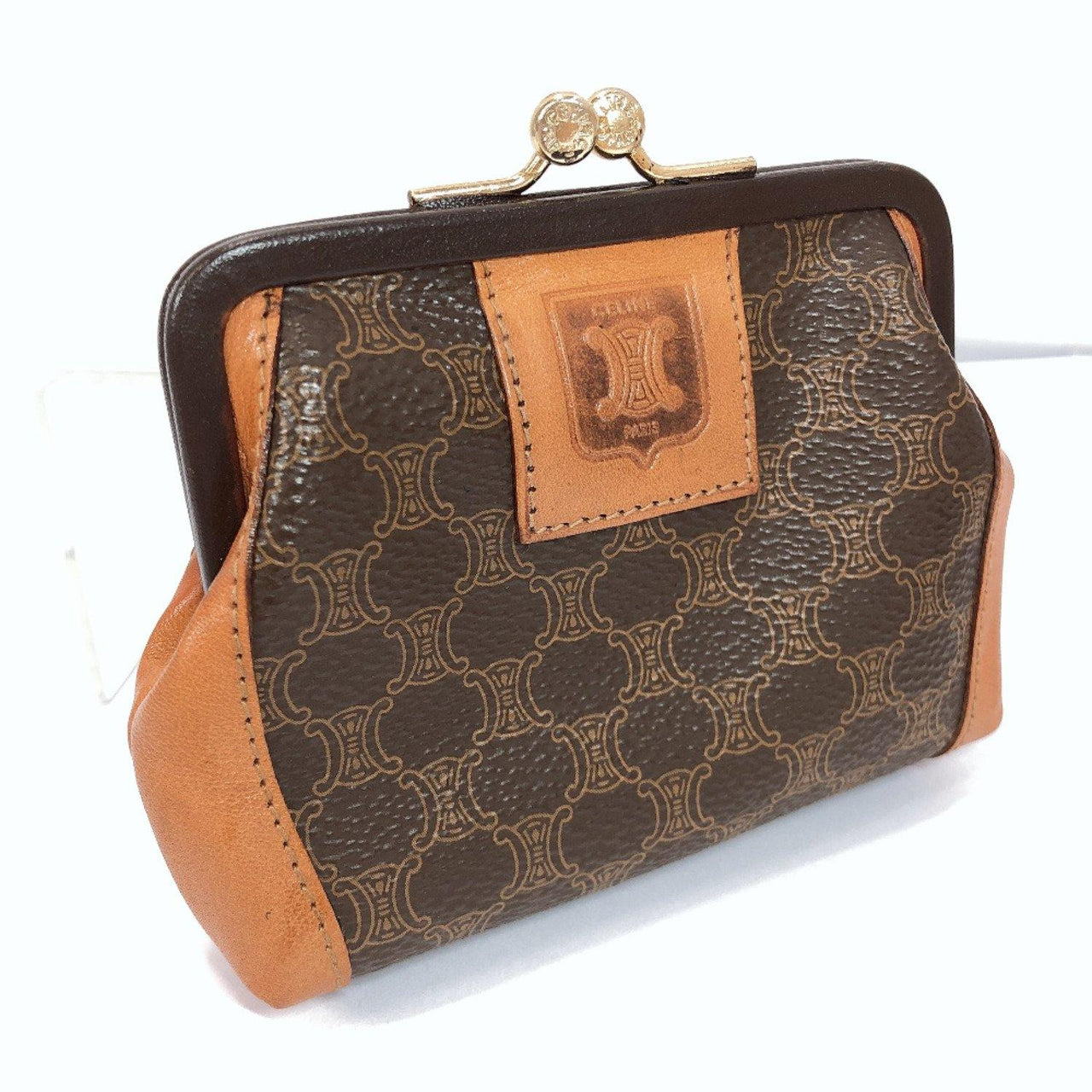 CELINE coin purse purse with a clasp Macadam pattern leather Brown Women Used - JP-BRANDS.com
