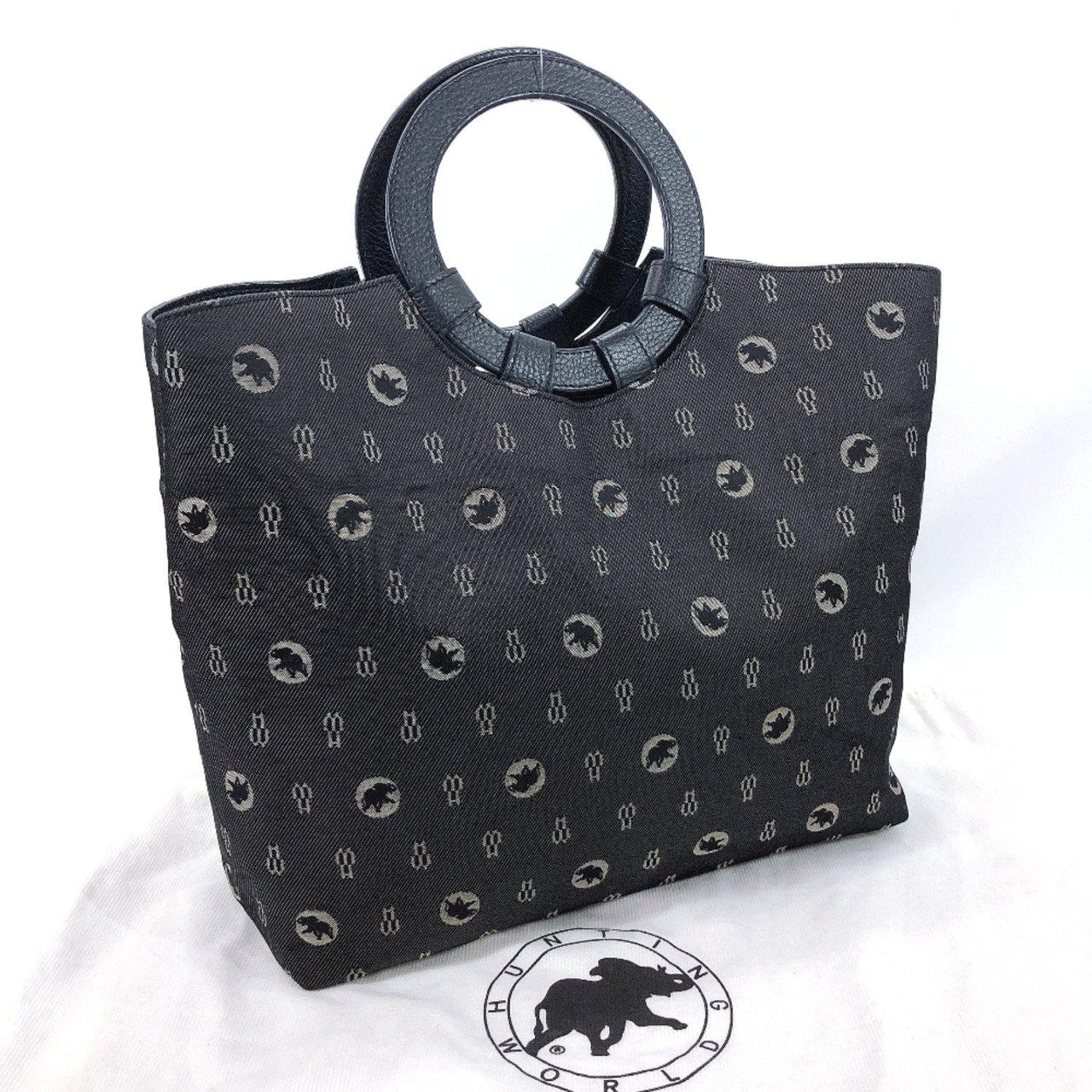 HUNTING WORLD Handbag 070602 canvas/leather Navy Women Used - JP-BRANDS.com