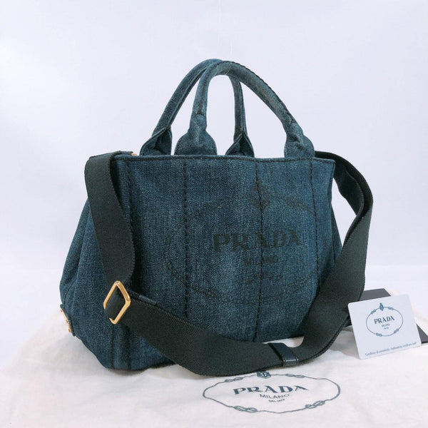 PRADA Tote Bag B2439G Canapa mini denim Blue (AVIO) Women Used