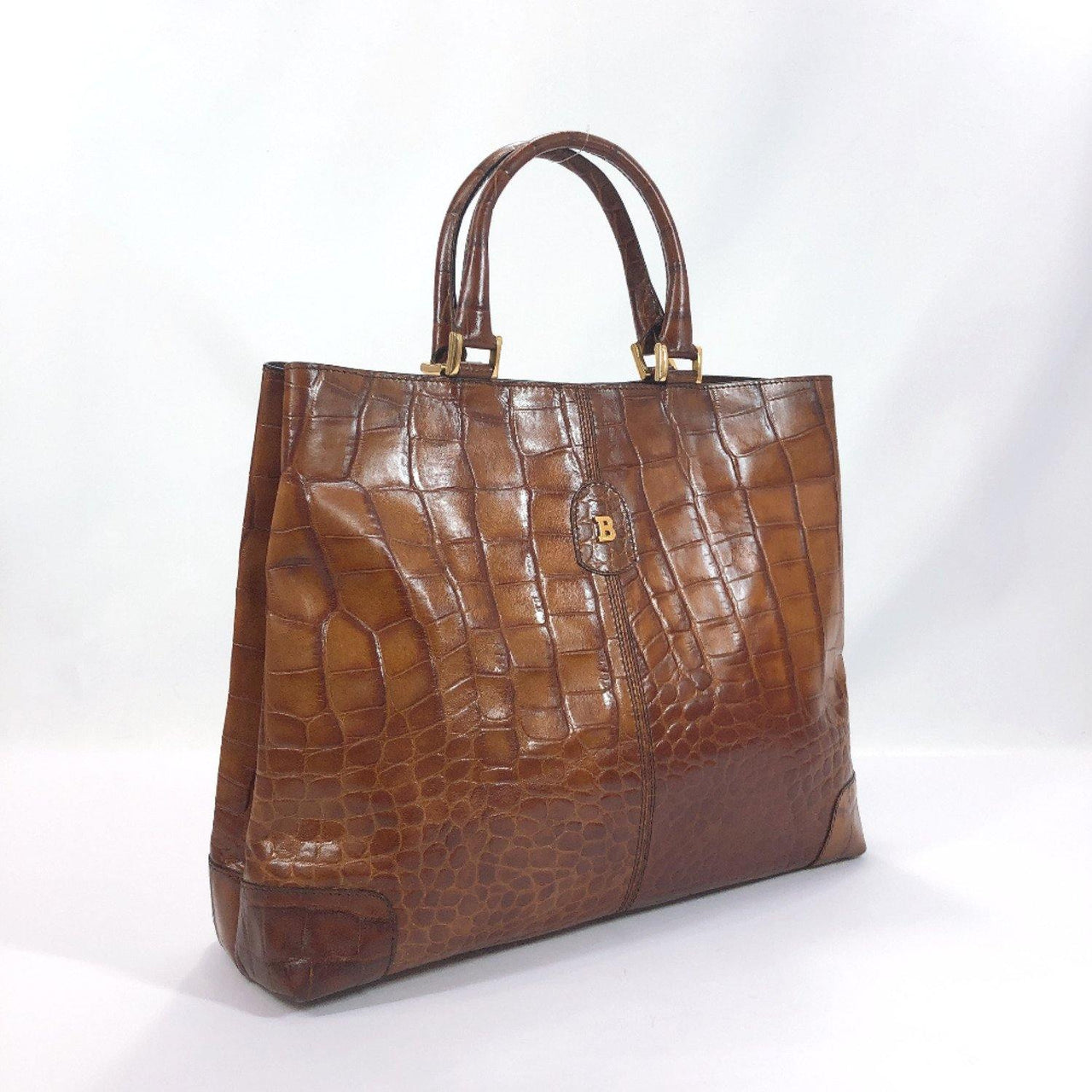 BALLY Tote Bag Embossing leather Brown Women Used - JP-BRANDS.com