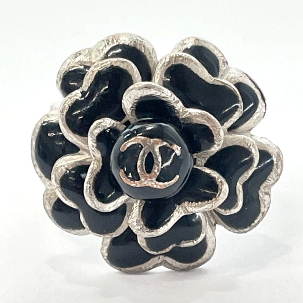 CHANEL Ring 03C Camelia metal 13 Silver Black Women Used