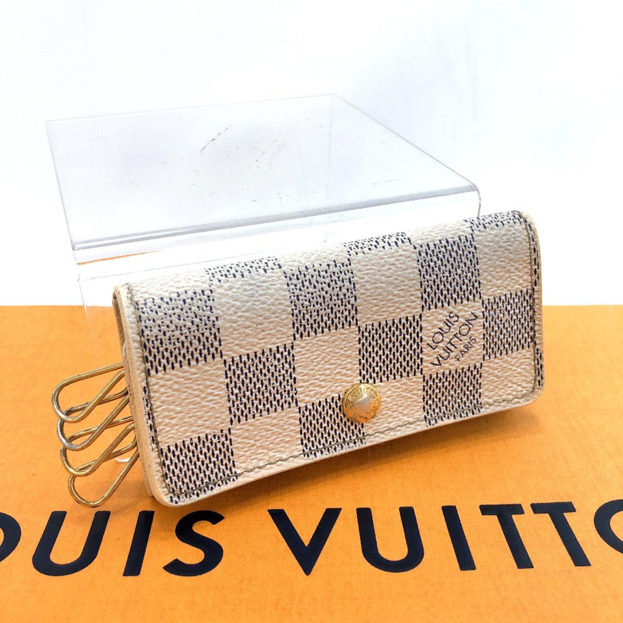 LOUIS VUITTON key holder N60020 Multicles4 4 hooks Damier Azur Canvas white unisex Used