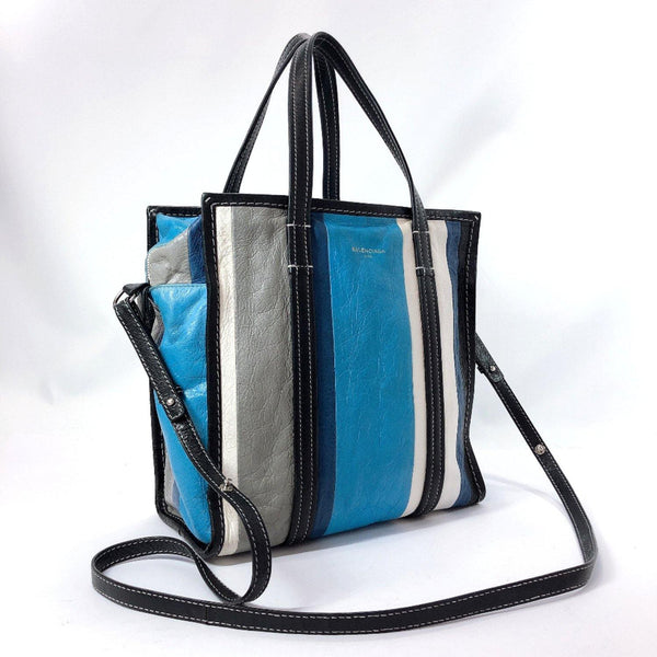 BALENCIAGA Shoulder Bag Bazaar shopper S 2way leather blue gray 443096.4380.A.002123 Women Used