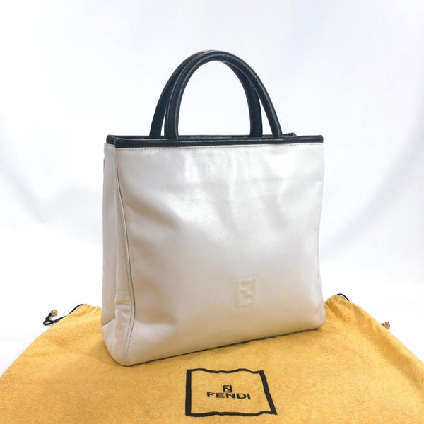 FENDI Handbag vintage leather white Women Used