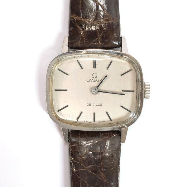 OMEGA Watches 625 De Ville Hand Winding Vintage metal/leather Silver Brown Women Used