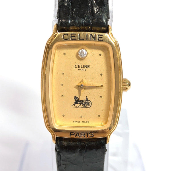 CELINE Watches Vintage carriage pattern Analog Quartz metal/leather gold black Women Used