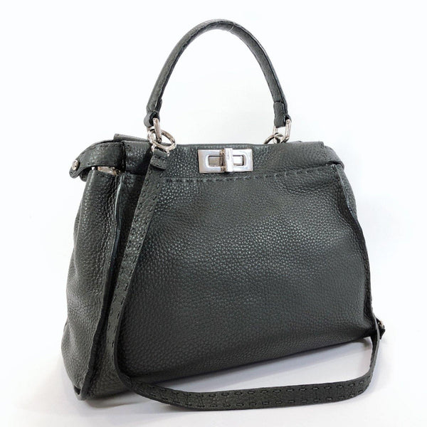 FENDI Handbag 8BN226 Peekaboo Celeria leather gray Women Used
