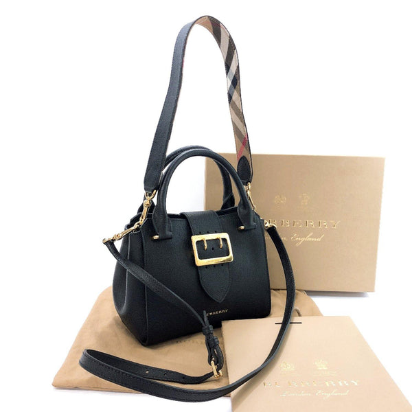 BURBERRY Handbag 108715 Medium buckle tote 2WAY leather/Gold Hardware black Women Used - JP-BRANDS.com