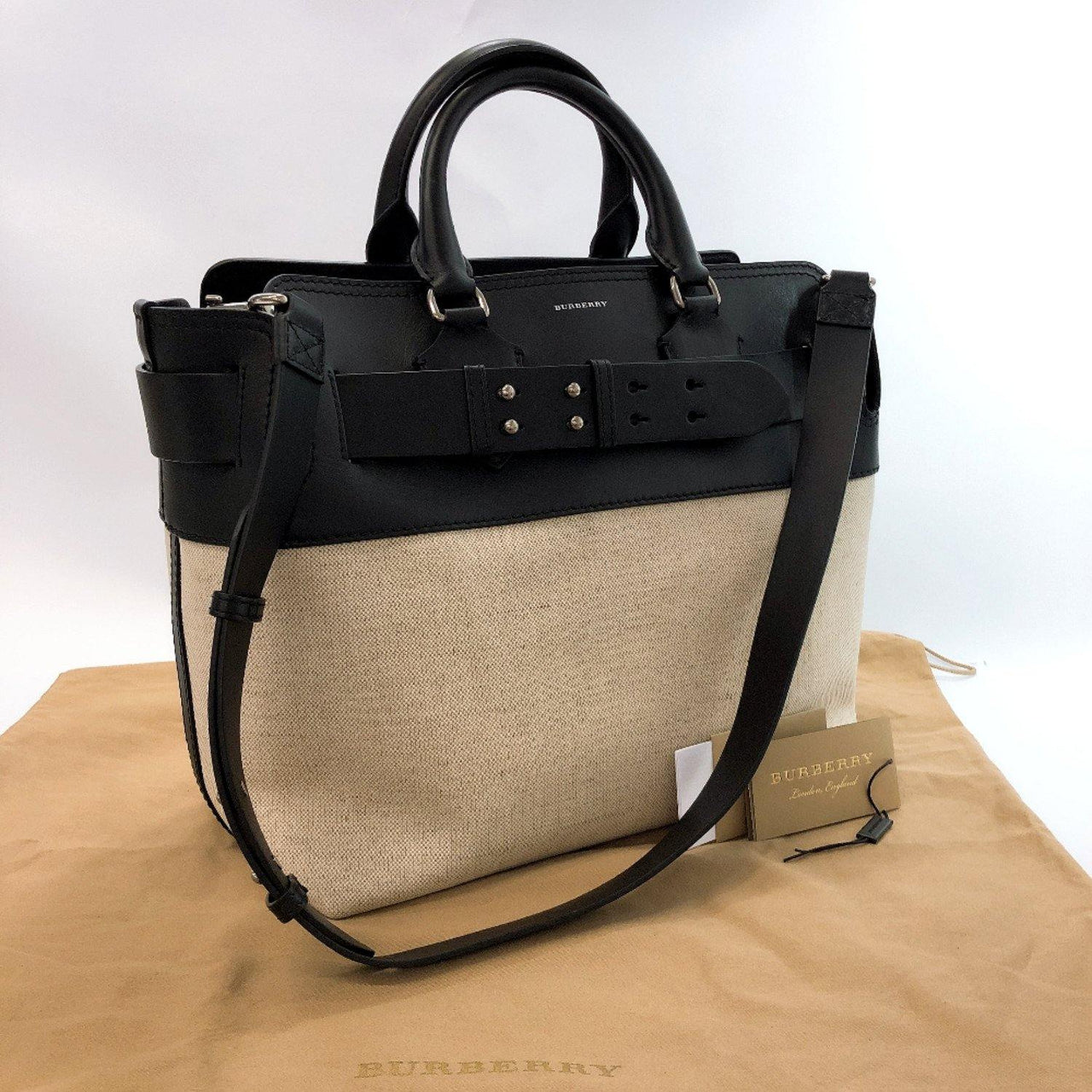 BURBERRY Tote Bag 4075905 Medium belt bag leather/canvas black Women Used - JP-BRANDS.com